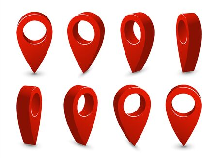3D pointer location map pin set. Travel destination place symbol collection. Road business navigation objects isolated on white background.