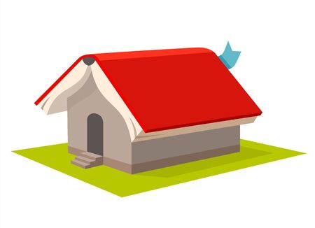 Opened red student book cover house roof vector apartment. 3d realistic home school distance online learning abstract concept. Isometric isolated abstract building idea on white background. 向量圖像