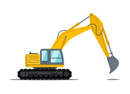 Cartoon yellow and black excavator construction heavy duty vehicle equipment for site design. Building power shovel machine vector icon. Isolated object on white background.