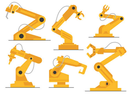 Vector flat robot arm welding at factory line set. Modern plant tech manipulator illustration. Isolated futuristic industrial mechanical hand drawing on white background.