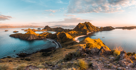 Top view of Padar Island in a morning from Komodo Island (Komodo National Park), Labuan Bajo, Flores, Indonesia