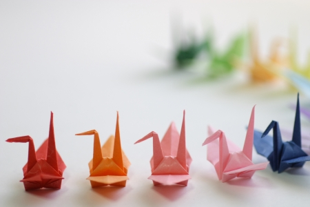 Japanese paper cranes folded photo