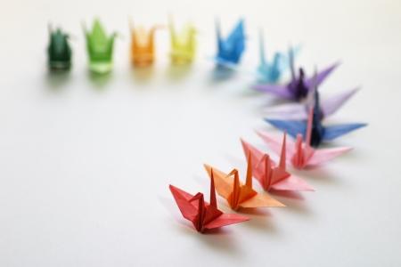 Japanese paper cranes folded
