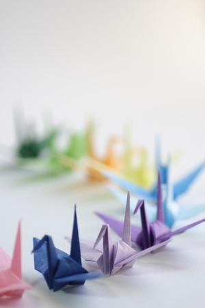 Japanese paper cranes folded photo