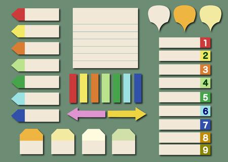 Illustration of a set of sticky notes Illustration
