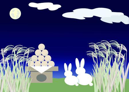 harvest moon: Rabbit View harvest moon Illustration