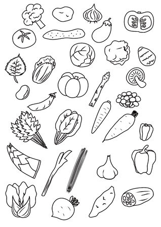 Vegetables pen painting style illustrations