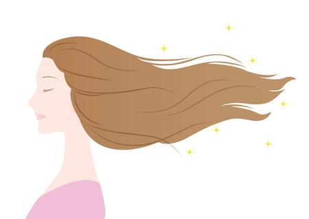 libbenő: Illusztráció egy nő haj libbenő Illusztráció