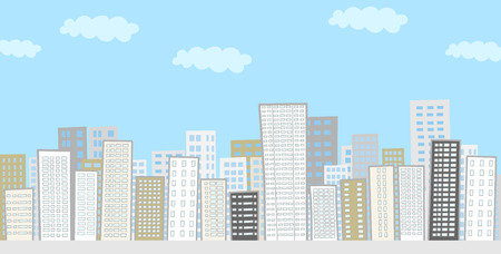 high rise buildings: Landscape of the city buildings lined Illustration