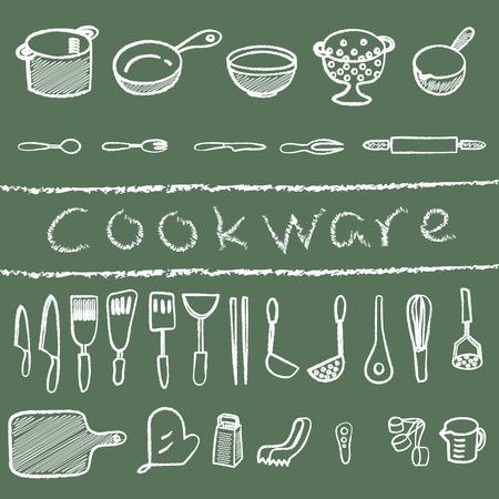 cookware: Utensilios de cocina dibujado en estilo graffiti tiza Vectores
