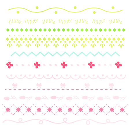Flowers and pattern decoration borders  イラスト・ベクター素材
