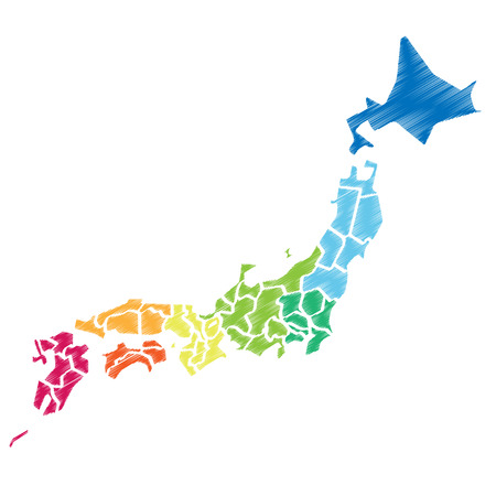 deformation: Colorful Japanese map