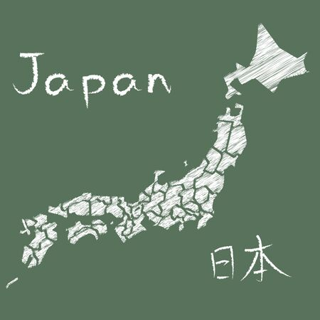 Chalk-style map of Japan