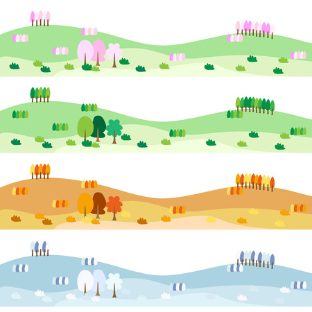 Four seasons of landscape illustrations