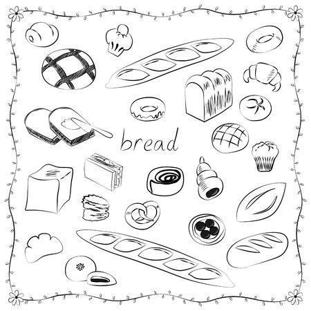 custard: World of bread icon set Illustration