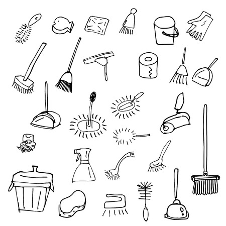 Icon set of cleaning tools