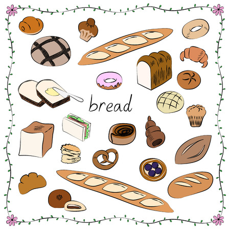 World of bread icon set Çizim