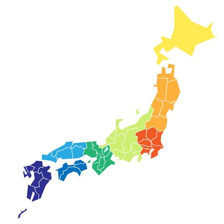 Japanese map that is colorcoded to eight
