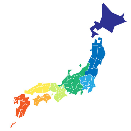 kyushu: Japanese map that is colorcoded to eight.