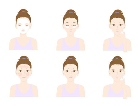 arrugas: Mujer con los problemas de la piel y cuidado de la piel Vectores