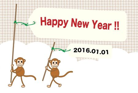 flax: New Years card image of the monkey year Illustration