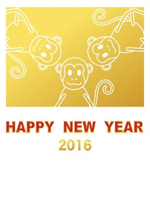 primate: New Years card image of the monkey year Illustration