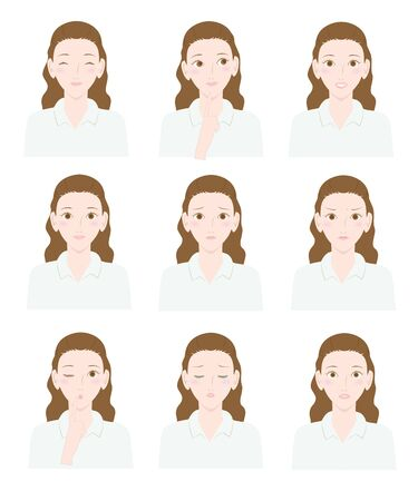 女性の様々 な表現  イラスト・ベクター素材