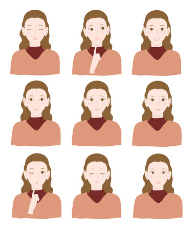 expressions: Various expressions of women Illustration