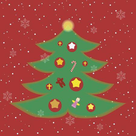 cartoon new year: christmas tree