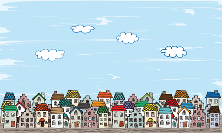 Europe the rooftops of hand-painted style Illustration