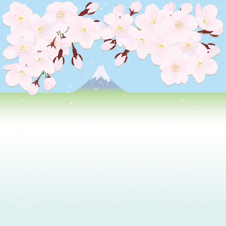 mount fuji: Cherry blossoms and Mount Fuji in the background Illustration