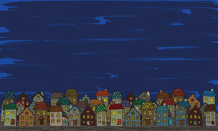 sidewalk cafe: Europe the rooftops of hand-painted style Illustration