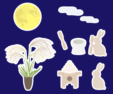 harvest moon: Viewing the moon icon set Illustration