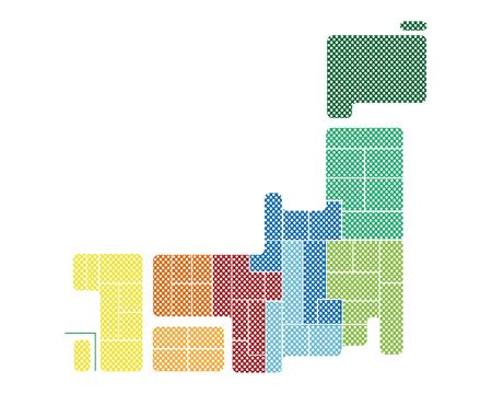 shikoku: Japan map of the dot pattern.