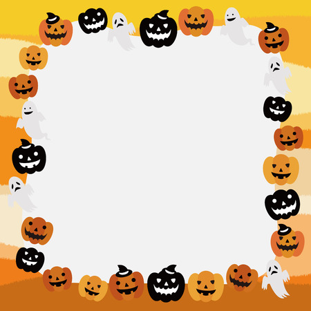 Halloween frame of pumpkin and ghost