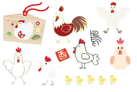 다양한 닭의 삽화