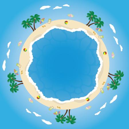 青いビーチ ベクトル図  イラスト・ベクター素材