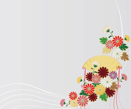 Chrysanthemum and fan background image