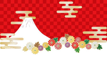 Japanese image combining Japanese pattern, Mt. Fuji and chrysanthemum flowers.