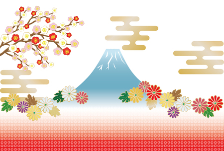 Japanese image combining Japanese pattern, Mt. Fuji and chrysanthemum flowers.
