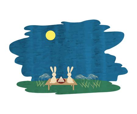 Rabbit watching the full moon