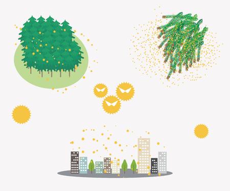 Oorzaken van pollenallergie, de stad waar stuifmeel verspreidt.