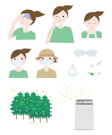 꽃가루 알레르기 여성 세트 일러스트