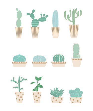 サボテンの様々な形態。  イラスト・ベクター素材