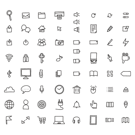 Hand-drawn pc icon set. 矢量图像