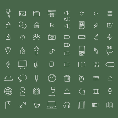 Hand-drawn pc icon set Hình minh hoạ