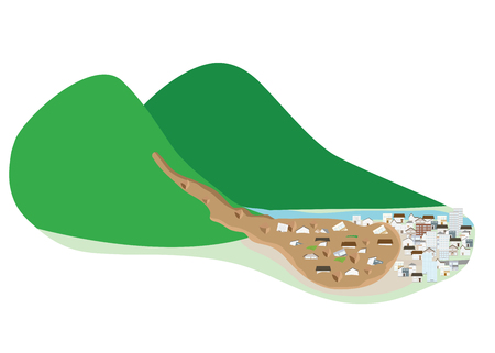 Mudslides reaching the town.