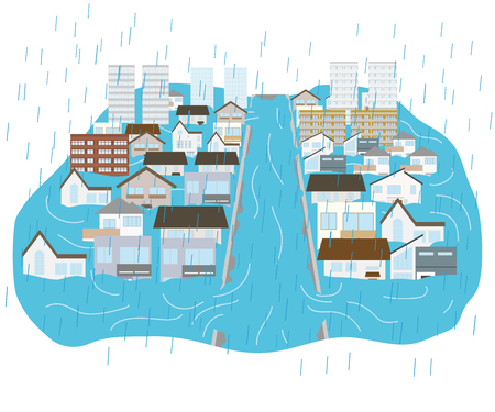 town flooded with heavy rains and rivers flooded Illustration