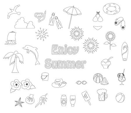 Summer item icon set.  イラスト・ベクター素材