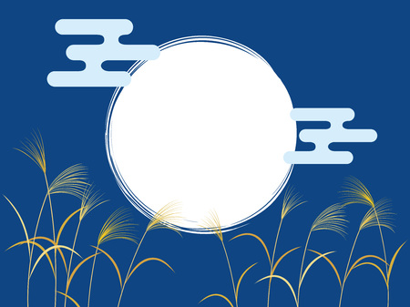 Full moon in night sky and Miscanthus sinensis Illustration
